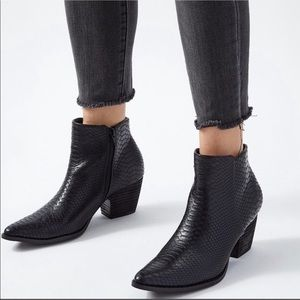 FREE PEOPLE X MATISSE SNAKE ANKLE BOOTS
